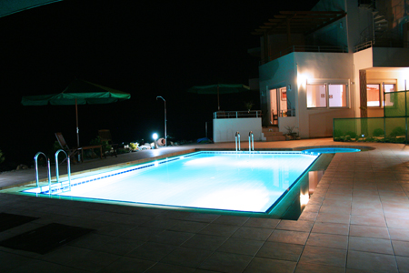 Nightime by the pool